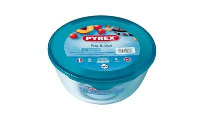 Pyrex Cook & Store Mixing Bowl with Lid 2.0L Cyan Glass Cookware Storage Lid