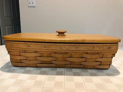 Longaberger 1990 Bread Basket with Matching Wood Lid, protector and liner