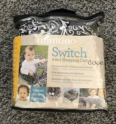 INFANTINO Switch 2 in 1 Shopping Cart/Highchair Cover, Day Dream Black & White