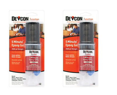 2 pack DEVCON 5 Minute Epoxy High Strength 2500 PSI S208 21045 CREAM
