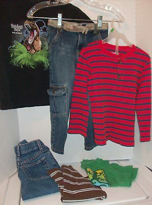 6 Pieces / Toddler  Boys Clothing Lot, Size 4T - 5 Jeans & Shirts, NAME BRANDS