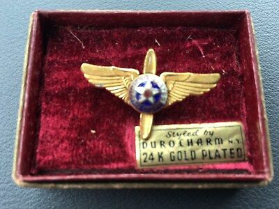 Vintage WWII US Air Corps USAC Pin-Gold Plated-NOS