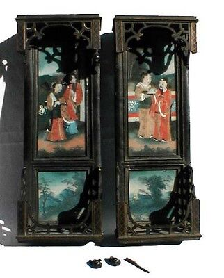 Pair of Antique Chinese Export Wall Hanging Cabinets