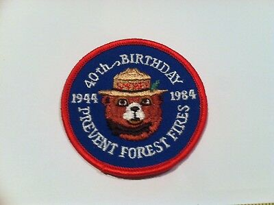Smokey The Bear 40th Birthday Patch Firefighting Forest Service