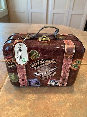 Vintage 100 Anniversary Girl Scout Lunch Box Luggage Suitcase Tin Metal Design
