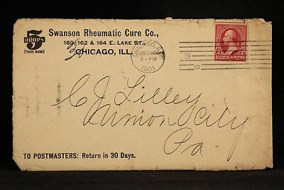 Illinois: Chicago 1901 Swanson Rheumatic Medical Cure Ad Cover+ GREAT CONTENT
