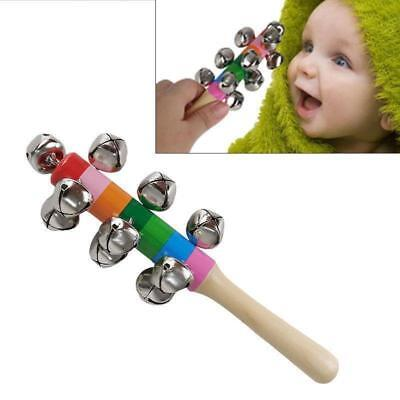 Rainbow Wooden Handle Bell Jingle Stick Shaker Rattle Toys Baby Kids 6L