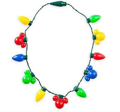 Disney Christmas Holiday Mickey Mouse Bulb Light Up Necklace - New Ships Fast