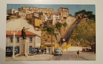 Vintage Postcard Town of Valparaiso Chile  - USED