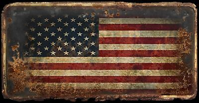 American Flag rusty license plate design on aluminum tag