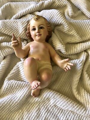Wood Carved Baby Jesus Statue/Glass Eyes