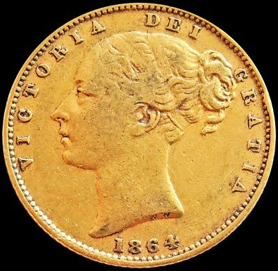1864 Gold Great Britain 7.981 Grams Sovereign Shield Reverse Young Head Die #62