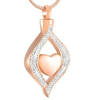 Rose Gold Keepsake Cremation Ashes Necklace Memorial Jewellery Urn Pendant Heart