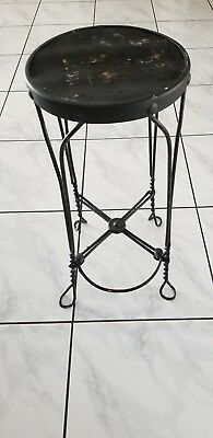 Antique Vintage Wrought Iron Twisted Mteal Wire Ice Cream Parlor Stool