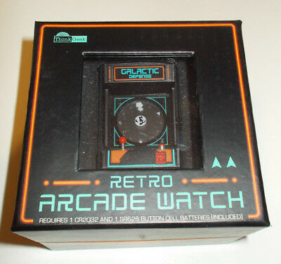 NEW RETRO Arcade Cabinet Wristwatch 2014 by THINK GEEK SEALED BOX! GALACTIC DEF
