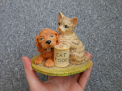 Vintage Beswick studio sculptures puppy dog with kitten - menu for today SS16