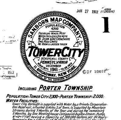 Tower City, Pennsylvania~Sanborn Map©~7 map sheets~made in 1911~Schuylkill Co