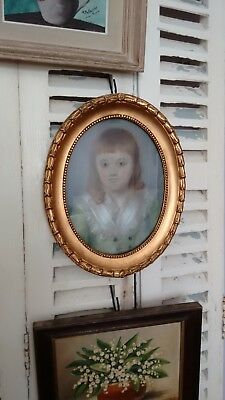 Charming Antique French Framed 18th Century Pastel Portrait of a Boy Child