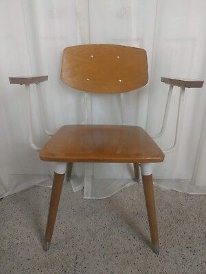 Vinage~Mid Century~Wood~Chair~Hill-Rom~Industrial~Waiting Room Chair~