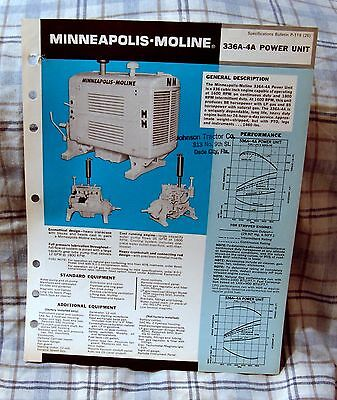 Vintage Minneapolis-Moline 336A-4A Power Unit Advertising Brochure - Ca 1970's!