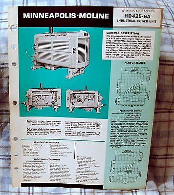 Vintage Minneapolis-Moline HD425-6A Power Unit Advertising Brochure - Ca 1970's!