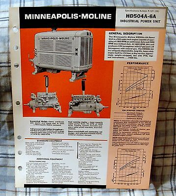 Vintage Minneapolis-Moline HD504A-6A Power Unit Advertising Brochure -Ca 1970's!