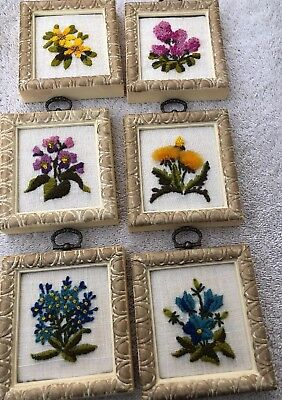 Vintage Wall Art Plaques Embroidered Flowers (Lot Of 6)