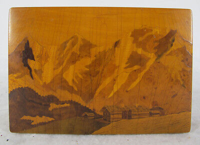 Vintage French Marquetry Inlaid Mountain Landscape Wooden Music Box  yqz