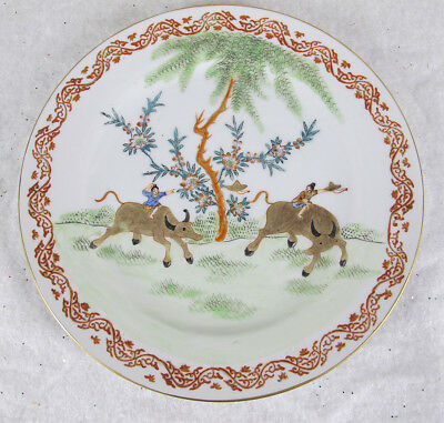 (12) Chinese Export Porcelain Famille Rose Painted Buffalo Hong Kong Plates yqz