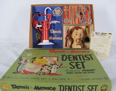 Vintage 1952 Dennis the Menace Dentist Set NEW IN BOX NEVER USED Joey's Head yqz