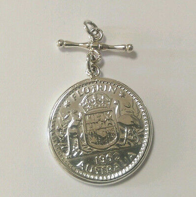 Sterling Silver 1962 Florin Coin Pendant With Fob