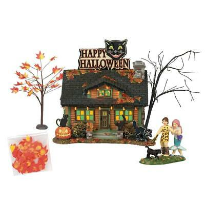 Black Cat Flat Dept 56 Snow Village Halloween 6000661 spooky haunted house A