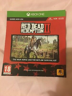 Red Dead Redemption 2 War Horse & Outlaw Survival Kit DLC Xbox One +Map -No game