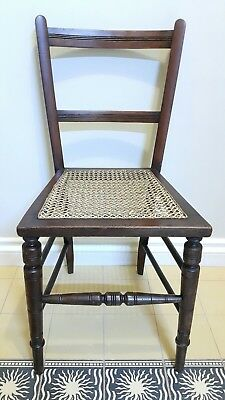 Chair Bergere Cane Seat Bedroom Hall  Retro Edwardian Mahogany