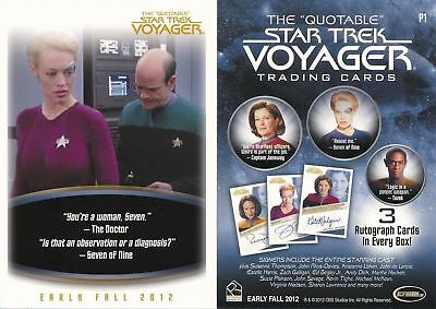 "RITTENHOUSE 2012 ""The QUOTABLE STAR TREK VOYAGER"" PROMO CARD [P1/P2] V/GOOD COND"