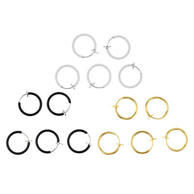 15Pcs Fake Clip On Spring Nose Hoop Ring Ear Septum Lip Earrings No Piercing