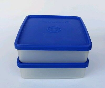 Set of Two Vintage Tupperware MINI Square Aways SMALL Sandwich Keeper BLUE