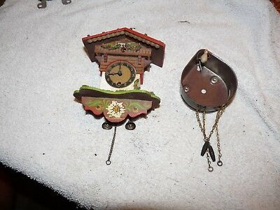 Vintage Miniature Cuckoo Clock and Lux Case with Cuckoo Parts or Repair