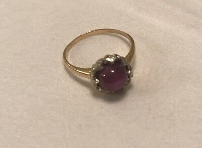 VINTAGE 14K GOLD NATURAL RUBY STAR SAPPHIRE RING - Estate Jewelry- Size 7?