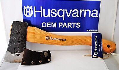 Husqvarna OEM 576926401 13 in Curved Hatchet With Leather Sheath Made in Sweden