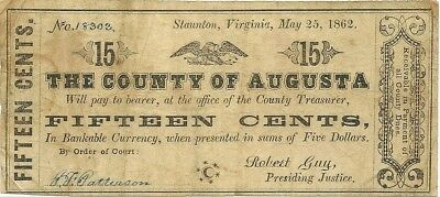 1862 Staunton Virginia ~ County Of Augusta 15 Cents Civil War Currency Note