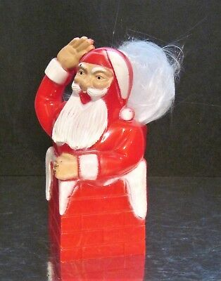 Vintage Hard Plastic CHRISTMAS Santa Claus Chimney Candy Container Holder Rosbro