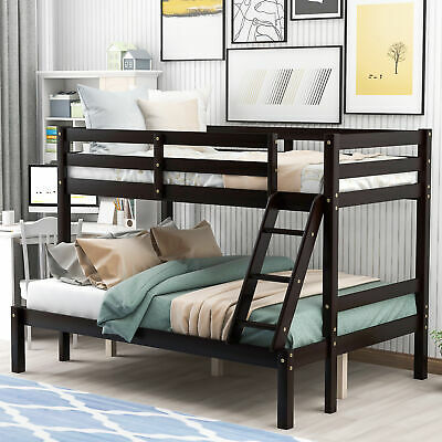 Bunk Bed Twin Over Twin Wood Convertible Bunkbeds Kids Ladder