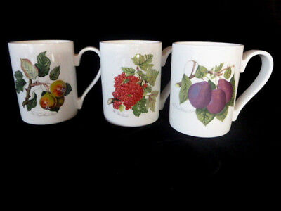 "Portmeirion England POMONA Red Currant Squash Pear Claude Plum 4 1/8"" Mugs"
