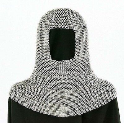 Butted Aluminum Chainmail Coif Round neck Chainmail Hood etrt