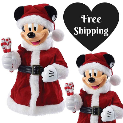 """New Santa Mickey Mouse 10"""" Christmas Tree Topper Cute Decoration Bendable Fun"""