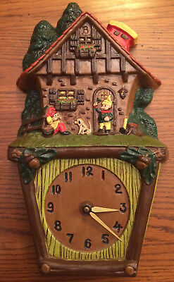RARE GERMAN ELVES WALL CLOCK 1970s by Atlantic Mold WORKING WORKS ELF. Christmas