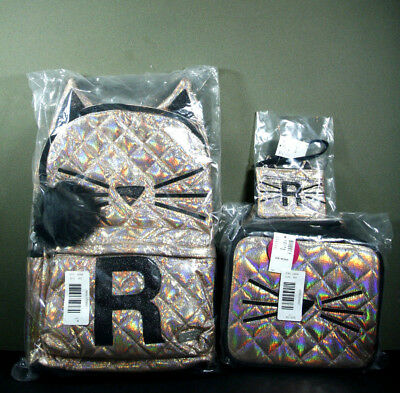 Justice Girls Quilted Gold Cat Backpack Lunch Tote Box & Wristlet Initial R NWT