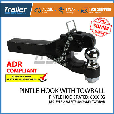 Heavy Duty 8 Ton Ball Combo Pintle Tow Hook Receiver Arm Hitch Towing 4WD Truck