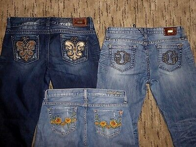 Lot Of 3 Pairs Of Guess Premium Boot Cut Foxy Flare Jeans Embellished Size 29 8